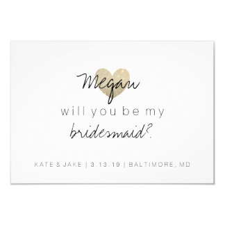 "Will You Be My Bridesmaid Card - Heart's Fab 2 3.5"" X 5"" Invitation Card"