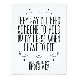 "WILL YOU BE MY BRIDESMAID? | CARD 4.25"" X 5.5"" INVITATION CARD"