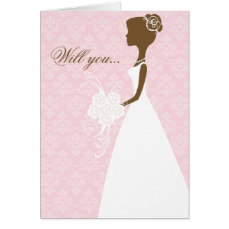 Will you be my bridesmaid card pink