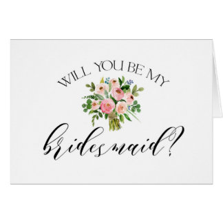 Will you be my bridesmaid card Pink floral
