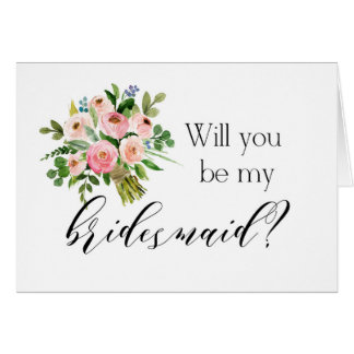 Will you be my bridesmaid card Pink floral bouquet