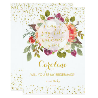 Will you be my bridesmaid card purple gold floral