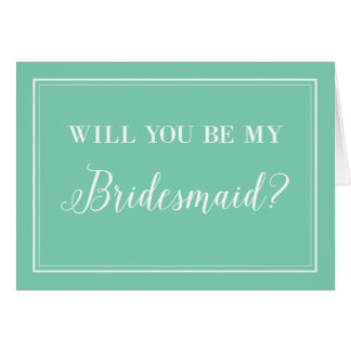 Will You Be My Bridesmaid Cards in Tiffany Blue