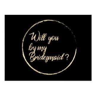 Will You Be My Bridesmaid Circle Wreath Black Gold Postcard