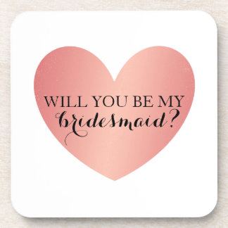 Will You Be My Bridesmaid Coasters - Pink Heart