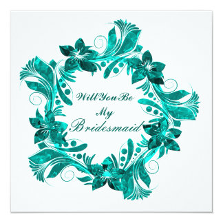Will You Be My Bridesmaid Colorful Floral Pattern Card