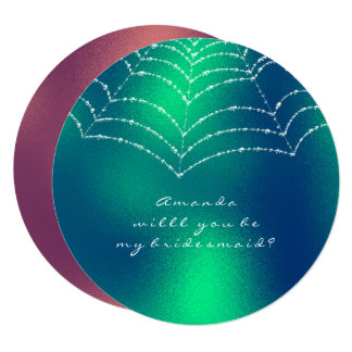 Will You Be My Bridesmaid Copper Green Dewy Web Card