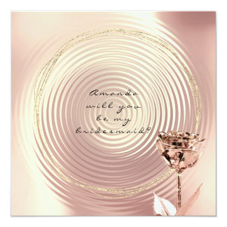 Will You Be My Bridesmaid Copper Rose Gold Lux Card