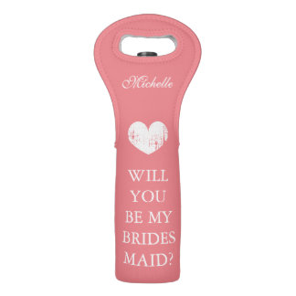 Will you be my bridesmaid coral pink wine tote bag