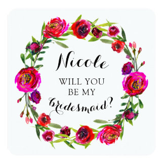 Will You Be My Bridesmaid? Custom Red Rose Floral Card