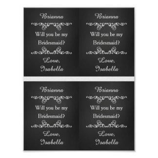 Will You Be My Bridesmaid Custom Wine Labels Poster