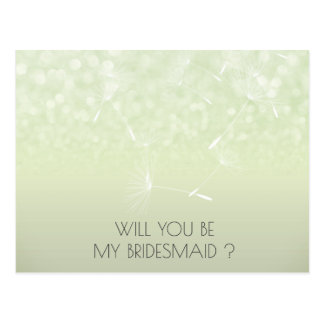 Will You Be My Bridesmaid Dandelion Mint  Ombre Postcard