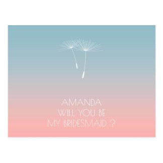 Will You Be My Bridesmaid Dandelion Powder Blue Postcard