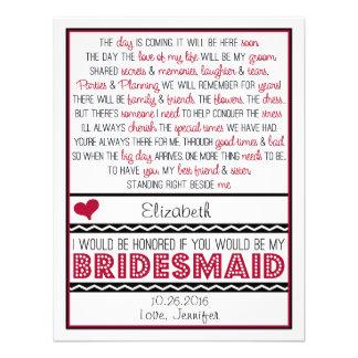 Will you be my Bridesmaid Deep Red Black Poem Custom Invitations