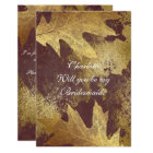 Will You Be My Bridesmaid Distressed Gold Burgundy Card