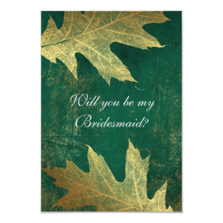 Will You Be My Bridesmaid? Distressed Gold Leaf Card