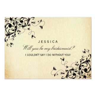 "Will You Be My Bridesmaid? Elegant Vintage Swirl 5"" X 7"" Invitation Card"