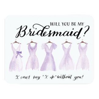 Will You Be My Bridesmaid Five Dresses Purple Card