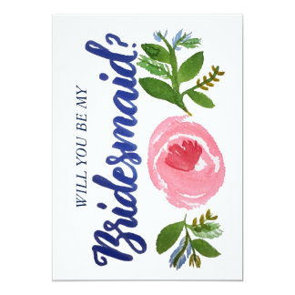 Will you be my Bridesmaid? Floral and Blue Card