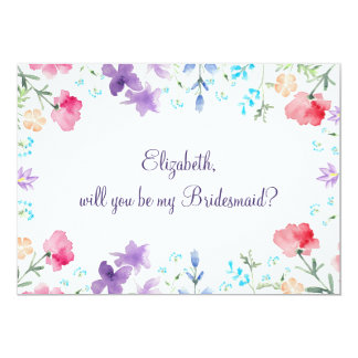 Will You Be My Bridesmaid Floral Invitation