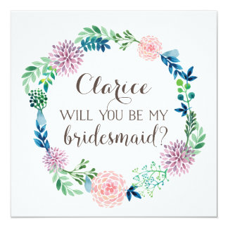 Will you be my bridesmaid, flowers, watercolor card