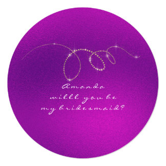 Will You Be My Bridesmaid Frozen Gold Bright Pink Card