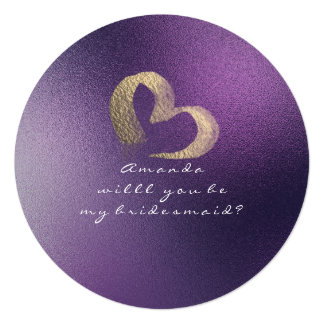 Will You Be My Bridesmaid Frozen Heart Purple Plum Card