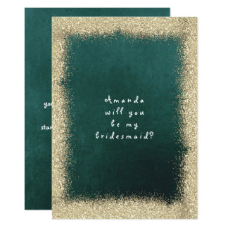 Will You Be My Bridesmaid Gold Glitter Cali Green Card