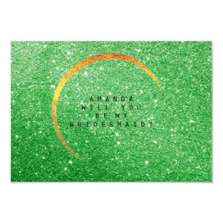 Will You Be My Bridesmaid Gold Glitter Green Grass Card