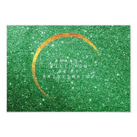Will You Be My Bridesmaid Gold Glitter Green Stars Card