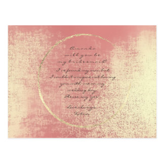 Will You Be My Bridesmaid Gold Peach Coral Glass Postcard