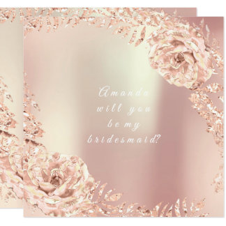 Will You Be My Bridesmaid Gold Pink Rose Wreath Card