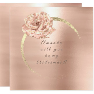 Will You Be My Bridesmaid Gold Rose Peach Blush Card