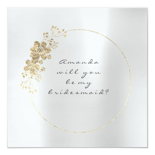 Will You Be My Bridesmaid Gold Silver Grey Foxiet Card