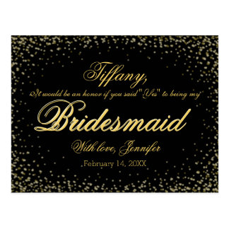 Will You Be My Bridesmaid? Golden Glitter Night - Postcard