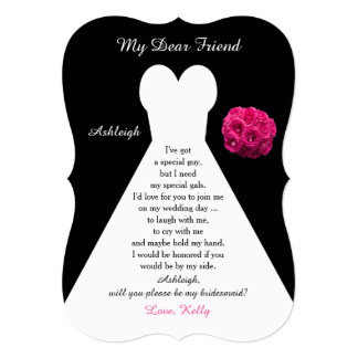 """Will You Be My Bridesmaid Gown on Black with Roses 5"""" X 7"""" Invitation Card"""