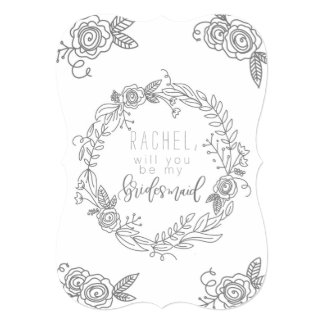 Will you be my bridesmaid gray flower card