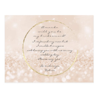 Will You Be My Bridesmaid Ivory Cream Gold Glitter Postcard