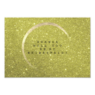Will You Be My Bridesmaid Lemon  Gold Glitter Card