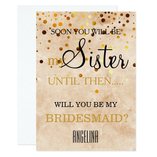 Will you be my bridesmaid? Marble Background Card