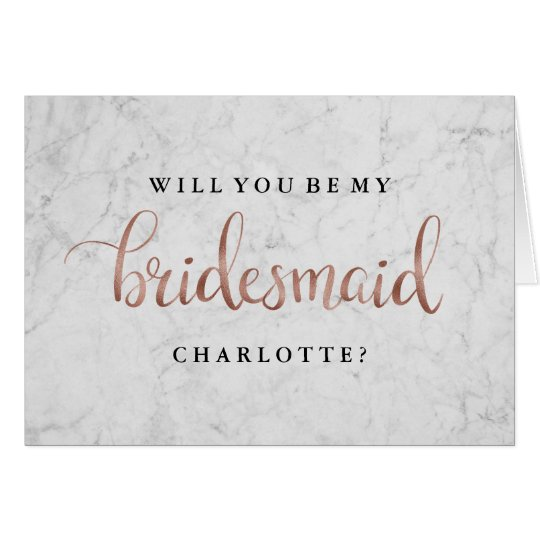 Will You Be My Bridesmaid Marble Rose Gold Card