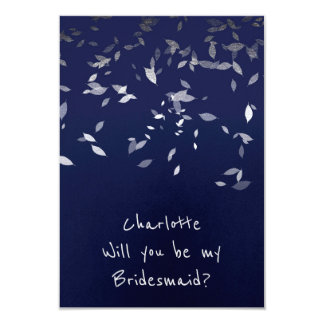 Will You Be My Bridesmaid Marine Confetti Silver Card