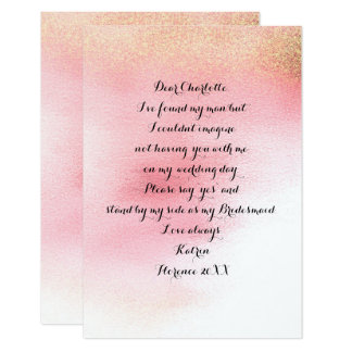 Will You Be My Bridesmaid?Minimal Pink Rose Powder Card