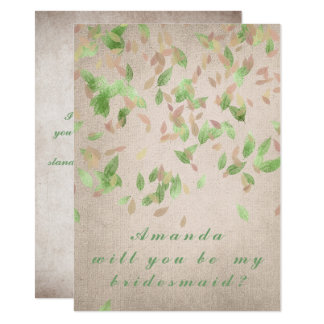 Will You Be My Bridesmaid Mint Green Pink Powder Card