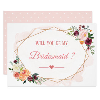 Will You Be My Bridesmaid Modern Bloom Floral Card