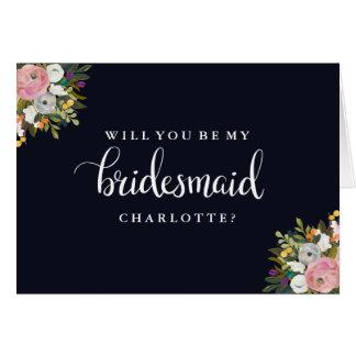 Will You Be My Bridesmaid Navy Botanical Card