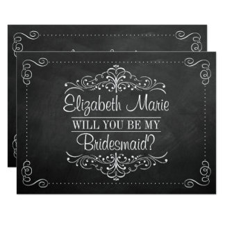 """Will You Be My Bridesmaid? Ornate Chalkboard Cards 5"""" X 7"""" Invitation Card"""