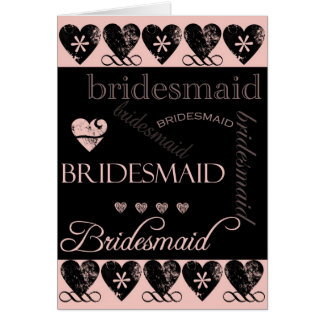 Will You Be My Bridesmaid Pink and Black Card