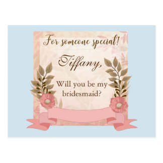 Will You be my bridesmaid Pink and Blue Postcard
