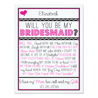 "Will you be my Bridesmaid? Pink/Black Collage Card 4.25"" X 5.5"" Invitation Card"